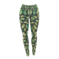 "Pom Graphic Design ""Tropical Botanicals 2"" Nature Green Yoga Leggings"
