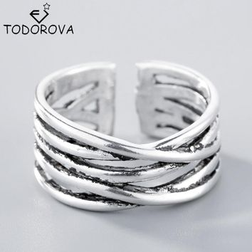 Todorova Real 925 Sterling Silver Jewelry Multi-Rows/layers Cross Criss Twisted Wrap Ring Adjustable Drop Shipping