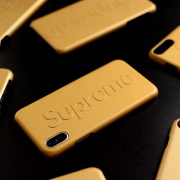 Supreme Fashion cortical silica gel phone case Logo iPhone 6 s mobile phone shell iPhone 7 plus shell Yellow G