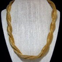 Napier Gold Tone Mesh Necklace, Twisted Tube, Fold Over Clasp, Mid Century Jewelry 1017