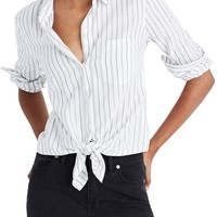 Madewell Stripe Tie Front Cotton Shirt   Nordstrom