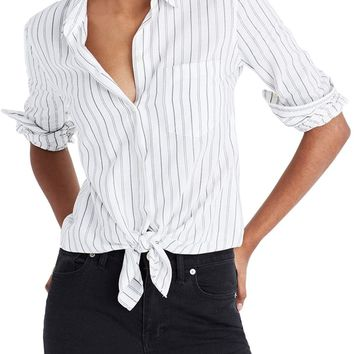 Madewell Stripe Tie Front Cotton Shirt | Nordstrom