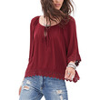FOREVER 21 Crochet-Trimmed Peasant Top Burgundy Small