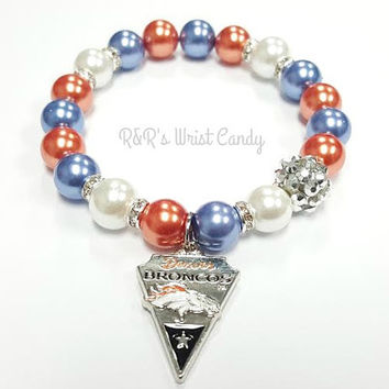 Denver Broncos Beaded Bracelet, NFL Football Bracelets, Team Spirit, Blue, White and Orange, Stretchy, Womens, Handmade Custom Jewelry