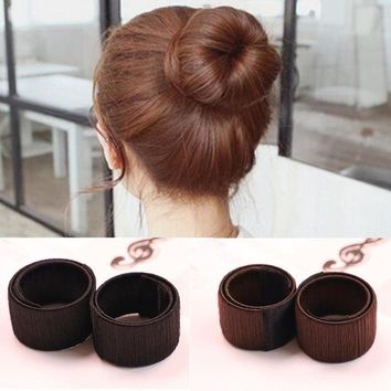 DCCKU62 1PC Hair Accessories Women's Magic Hair Disk Hair Device Donut Quick Messy Bun Maker Twist Curler Tool Updo Headwear FT204