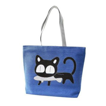 VONFC9 Fashion Cute Cartoon Cat Bag Canvas Bags For Women Shoulder Bag Casual Women's Handbags Messenger Bags Bolsas Feminina Hot Sale