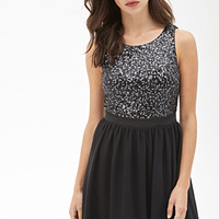 FOREVER 21 Sequined Fit & Flare Dress Black/Grey