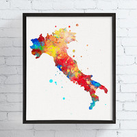 Italy Wall Art, Italy Print, Italy Poster, Italy Map, Map Art, Map Print, Framed Art, Custom Color Scheme, Gift Idea, Watercolor Art Print