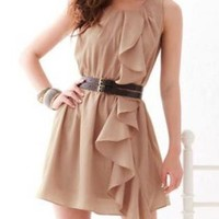 SASSY MINI TAN CHIFFON DRESS