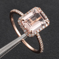 6x8mm Emerald Cut Morganite Ring in 14k Rose Gold,  Morganite & Diamond Engagement Ring, Aquamarine/Emerald/Amethyst/Citrine/Peridot/Garnet