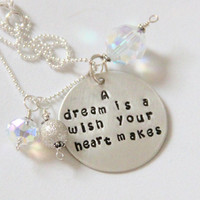 Cinderella Graduation Quote Necklace, A Dream is a Wish Your Heart Makes, Gift From Teachers, Cinderella, Dream, Wish, Princess,
