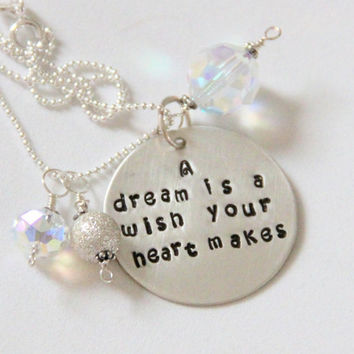 Cinderella Graduation Quote Necklace A Dream by whiteliliedesigns
