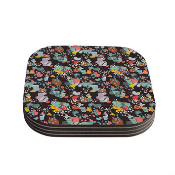 """Akwaflorell """"At Home"""" Black Multicolor Coasters (Set of 4)"""