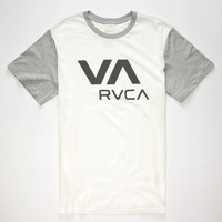 Rvca Va Mens T-Shirt White/Grey  In Sizes