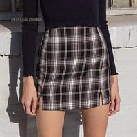 Women White and Black Plaid Print Mini Skirt with Two Small Front Slits