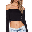 BLQ BASIQ Off the Shoulder Crop Top in Black