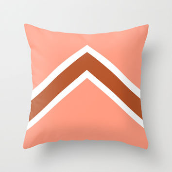 Vintage Salmon, Burnt Orange, and White Arrow Throw Pillow by Kat Mun | Society6