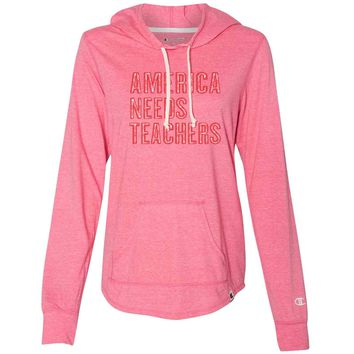 America Needs Teachers - Womens Champion Brand Hoodie - Hooded Sweatshirt