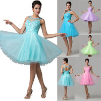 STOCK Princess Short Formal Backless Prom Dresses Cocktail Ball Gown Homecoming