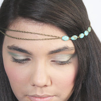 Chain Headband Headpiece Bohemian Hipster Boho Hippie Bronze Turquoise Bridal Statement Jewelry