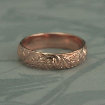 Bridal Bouquet Rose Gold Plated Sterling Silver Wedding Band--Floral and Flourish Patterned Silver Ring--Custom made in YOUR size