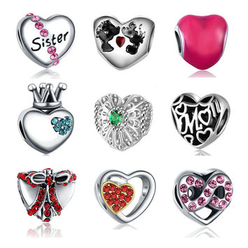 Fit Pandora Bracelet Silver Plated Pave CZ Love Heart Shaped Charms Beads DIY Original Jewelry Making Accessories