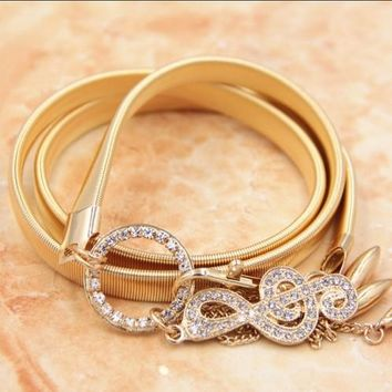 Women's Elegant Music Note Crystals Gold Buckle Belt