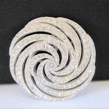 Clear Rhinestone Brooch, Atomic Swirl,  Signed ORA, Rhodium Setting, Vintage Pin