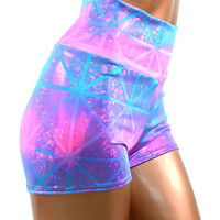 Purple & Pink Shattered Glass High Waist Shorts