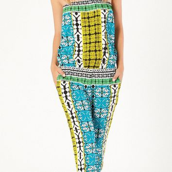 Strapless Printed Crepe Jumpsuit