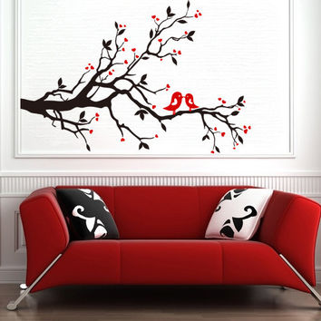 Vinyl Wall Sticker  Tree and  Birds in Love with Hearts for Living or Baby Room, Decor Removable Art Decal DIY! Free shipping!
