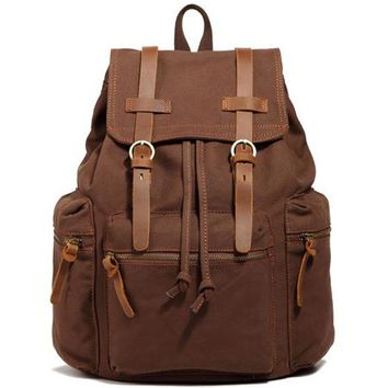 Leather military Canvas backpack