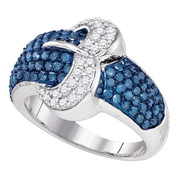 10kt White Gold Women's Blue Color Enhanced Diamond Belt Buckle Cocktail Ring 1-3/8 Cttw - FREE Shipping (US/CAN)