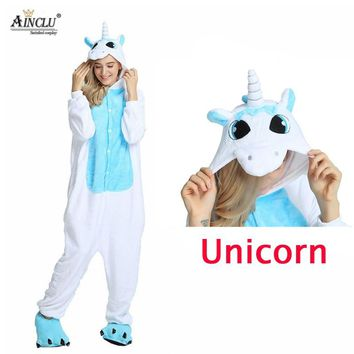 Winter Adults Blue Unicorn Animal Pajamas Sets Cartoon Sleepwear Unicorn Pajamas Women Men Warm Flannel Hooded pyjamas With Shoe