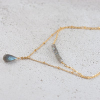 Labradorite Layered Necklace, Two Layer Necklace, Delicate Gold Plated Satellite Chain, Gold or Silver
