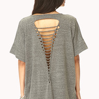 Shredded Back Dolman Tee