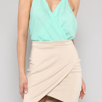 Flirtatious Socialite Suplice Criss Cross Back Color Block Mini Dress in Mint/Beige | Sincerely Sweet Boutique