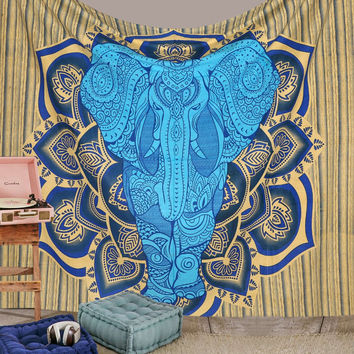 Mandala Elephant Hippie Hippy Wall Hanging Throw Tapestry