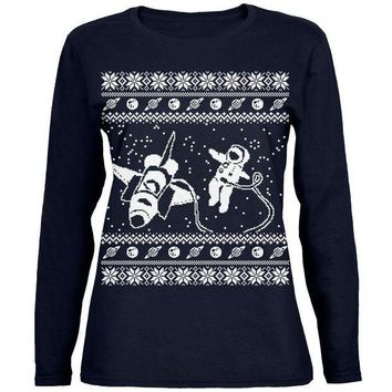 PEAPGQ9 Astronaut in Space Ugly Christmas Sweater Womens Long Sleeve T Shirt