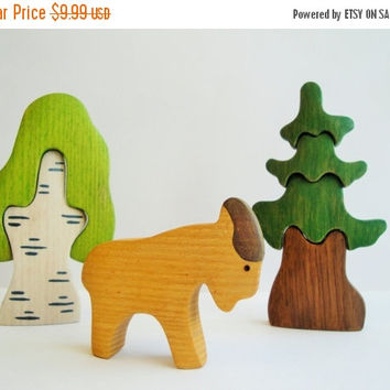 ON SALE Goat toy Farm Animals Wooden Learning toy Educational Montessori Miniature animal figurines Waldorf nature table Handmade Toys for g