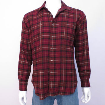 Plaid Wool Shirt by Viyella woven in Scotland Wool Cotton Blend Brown and Deep Red Neiman Marcus WPL