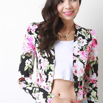 Cropped Open Front Floral Blazer
