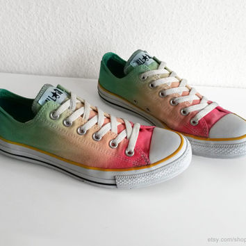 Multi-colour ombre Converse, dip dye upcycled vintage sneakers, All Stars, Chucks, low tops, eu 41.5 (UK 8, US wmns 10, US mens 8)