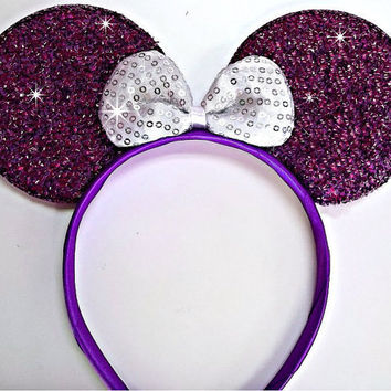 Minnie Mouse Ears Headband Purple Sparkle White Bow Mickey Mouse Ears, Disneyland, Disney World