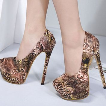 Print Round Toe Low Cut Platform Super High Heels Prom Shoes