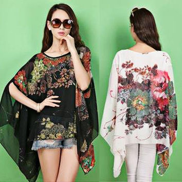 New Fashion Women Vintage Floral Print Round Neck Batwing Sleeve Chiffon Shirts Lady Dolman Sleeve Loose Casual Top Blouses Plus Size = 1945733828
