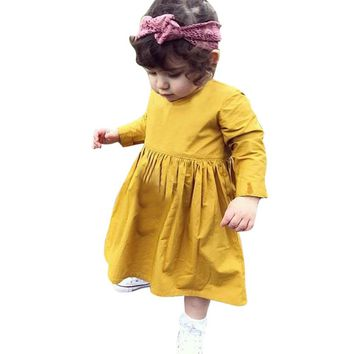 Toddler Kid Baby Girl Clothes Princess Party Prom Tutu Dress Long Sleeve Solid kids Dresses for girls 1-5T