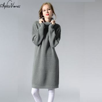 Women Long Sweater Turtleneck Fashion Ladies Autumn Winter Retro Pullover Thick Knit Sweater Dress Warm Tops Sujer Mujer 2017
