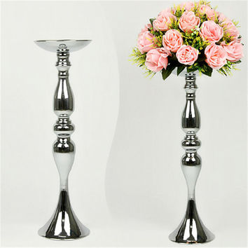 Hot Sale!!! Stands Silver Plated Candle Holder Wedding Candelabra Romantic Flower Standing Centerpiece Decoration Candlestick