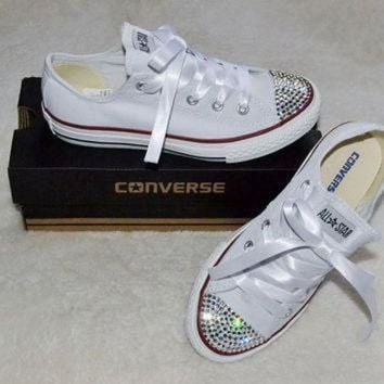 VONR3I Custom Crystal White Low Top All Star Converse Blinged Crystal Toes, Ribbon Laces Chil